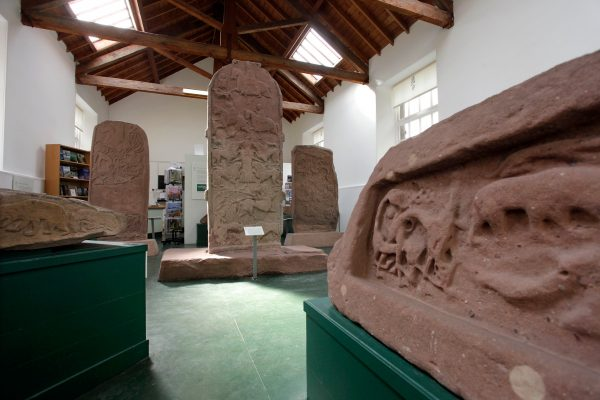 The Meigle Pictish Stones in the Meigle Sculptured Stone Museum, Meigle, PerthshireMuseum of Pictish carved sculpture, including cross slabs, recumbent gravestones, a hogback stone and rare architectural fragments