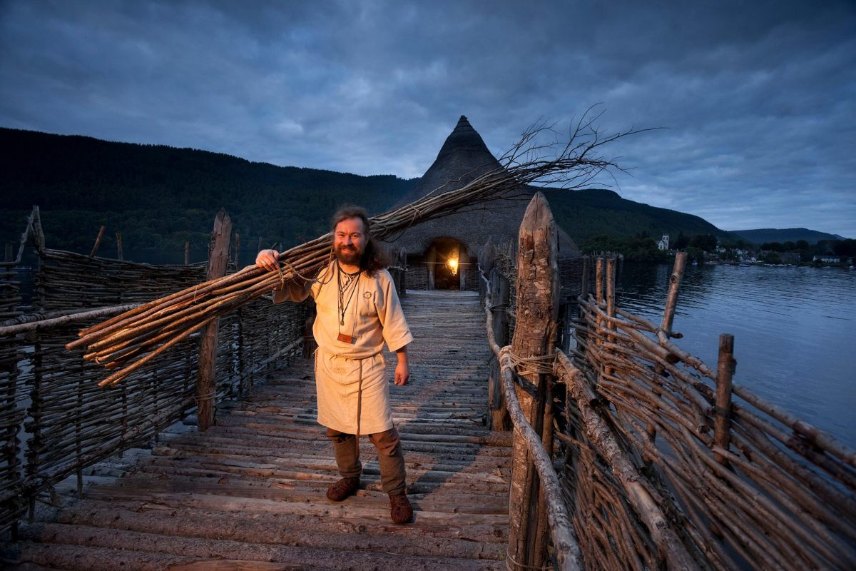 A participant of the Living Iron Age Experience special event poses for a photograph at the Scottish Crannog Centre on Loch Tay, Kenmore, Perthshire Picture Credit : Paul Tomkins / VisitScotland
