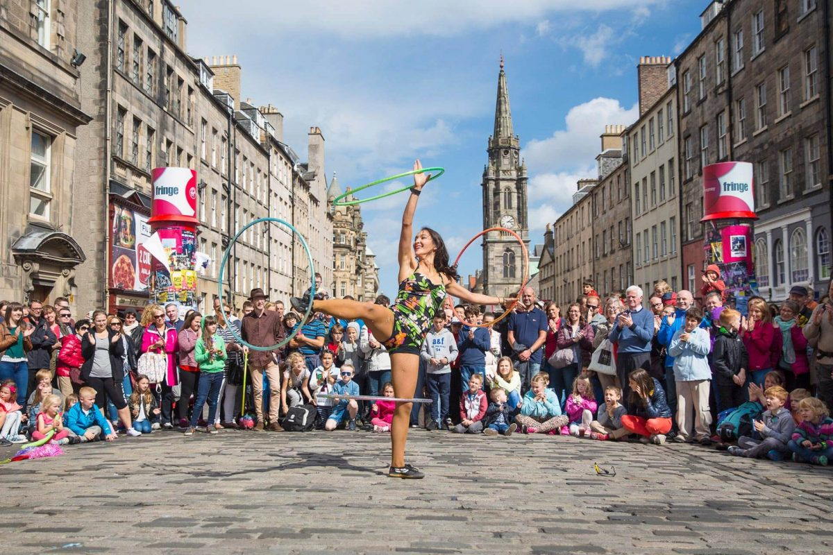 A performer on the Royal Mile during the Edinburgh Festival Fringe