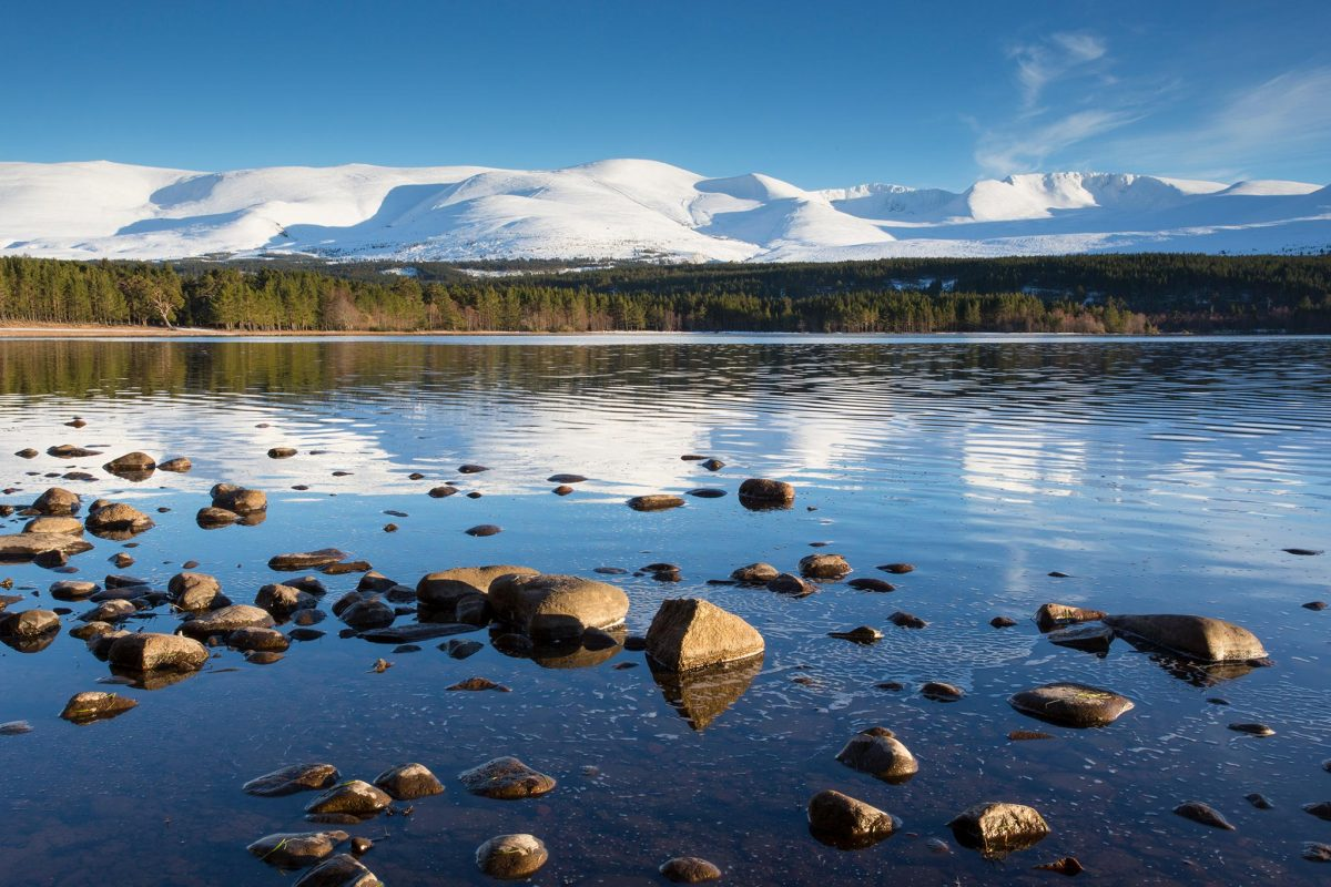 Looking over Loch Morlich to the Cairngorm mountains