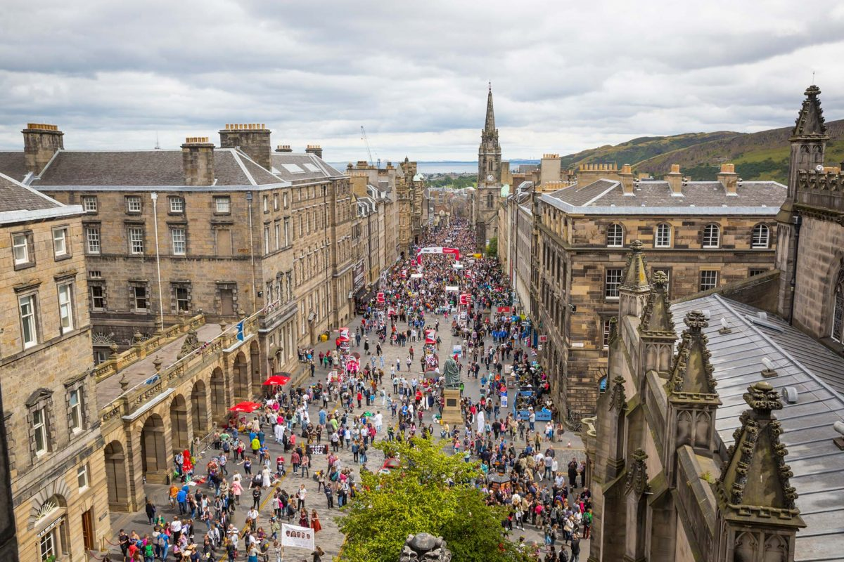 Looking down the Royal Mile during the Edinburgh Fringe Festival