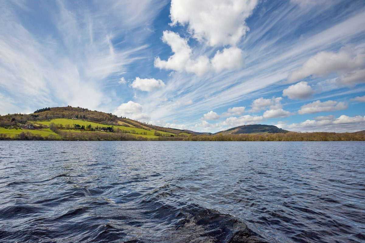 View of Loch Ness on board a boat