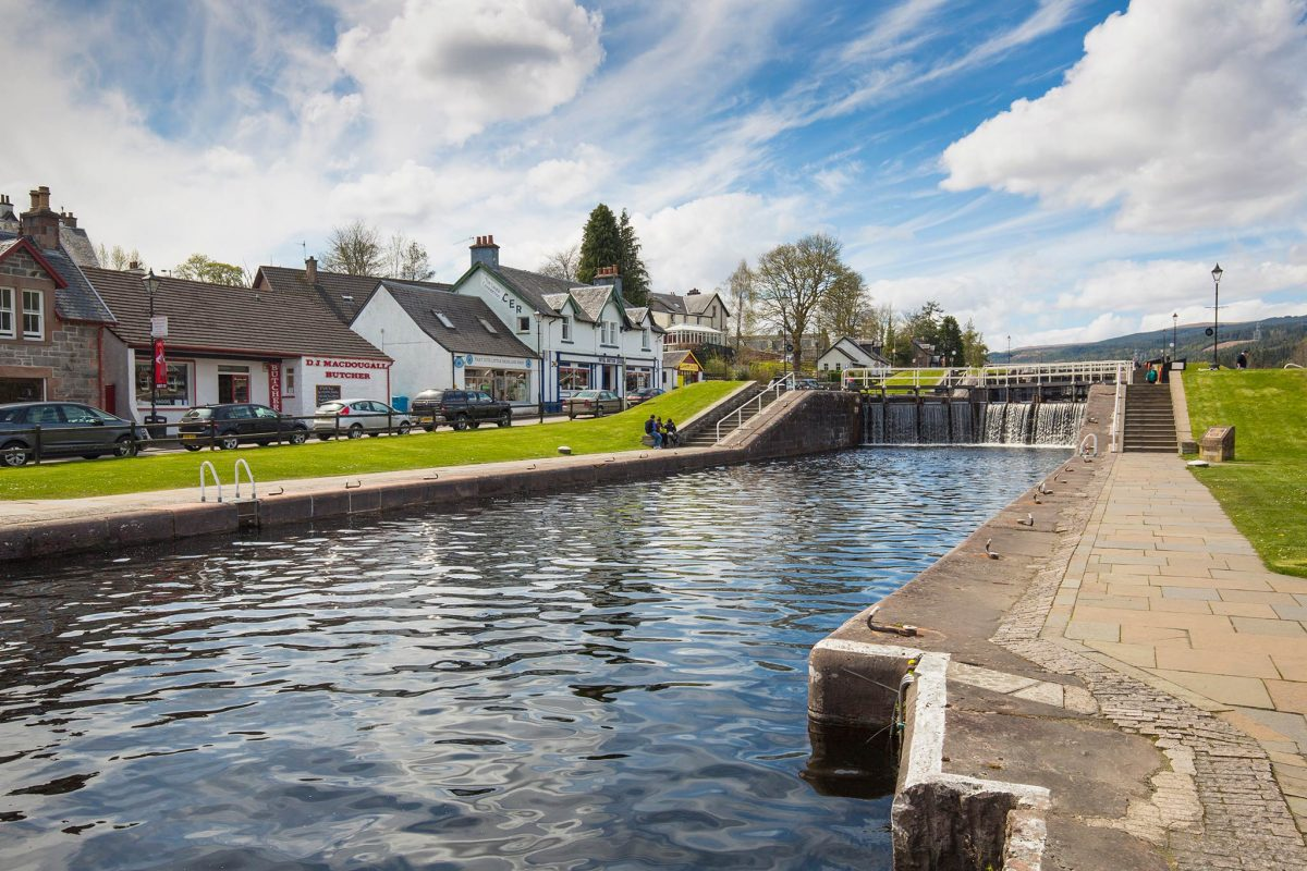 Caledonian Canal at Fort Augustus where it joins Loch Ness