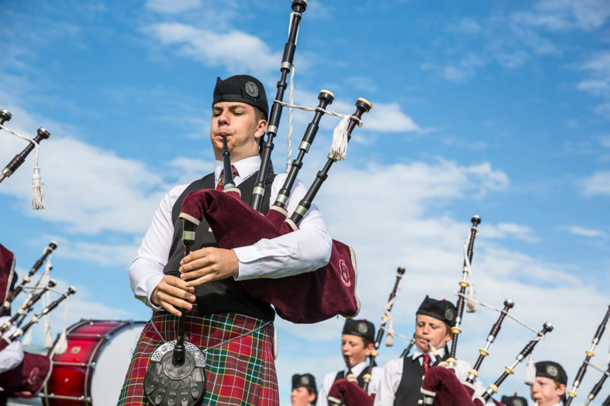 Dudelsack-Band bei den North Berwick Highland Games