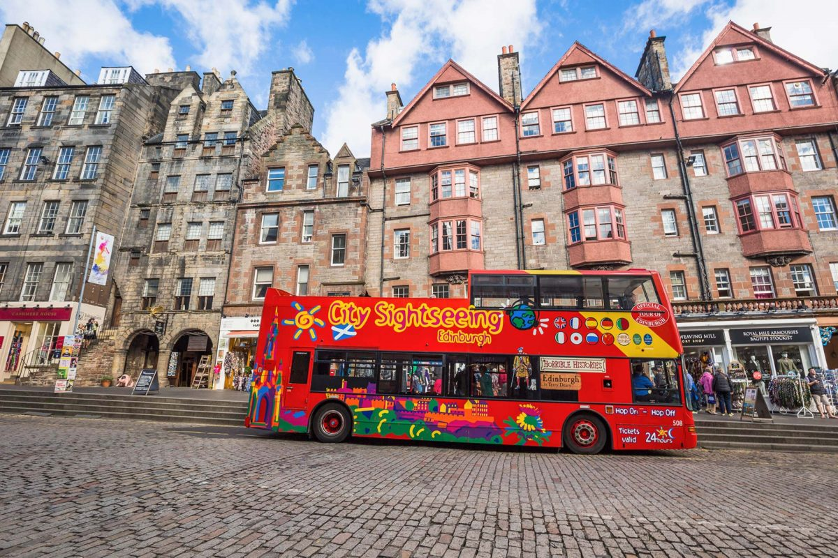 City Sightseeing tour bus on the Royal Mile, Edinburgh