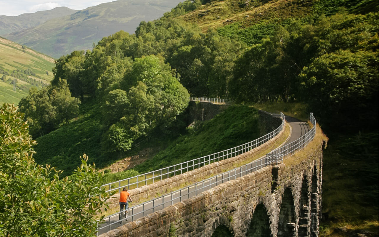 Cycling down the Glen Ogle Viaduct near Lochearnhead