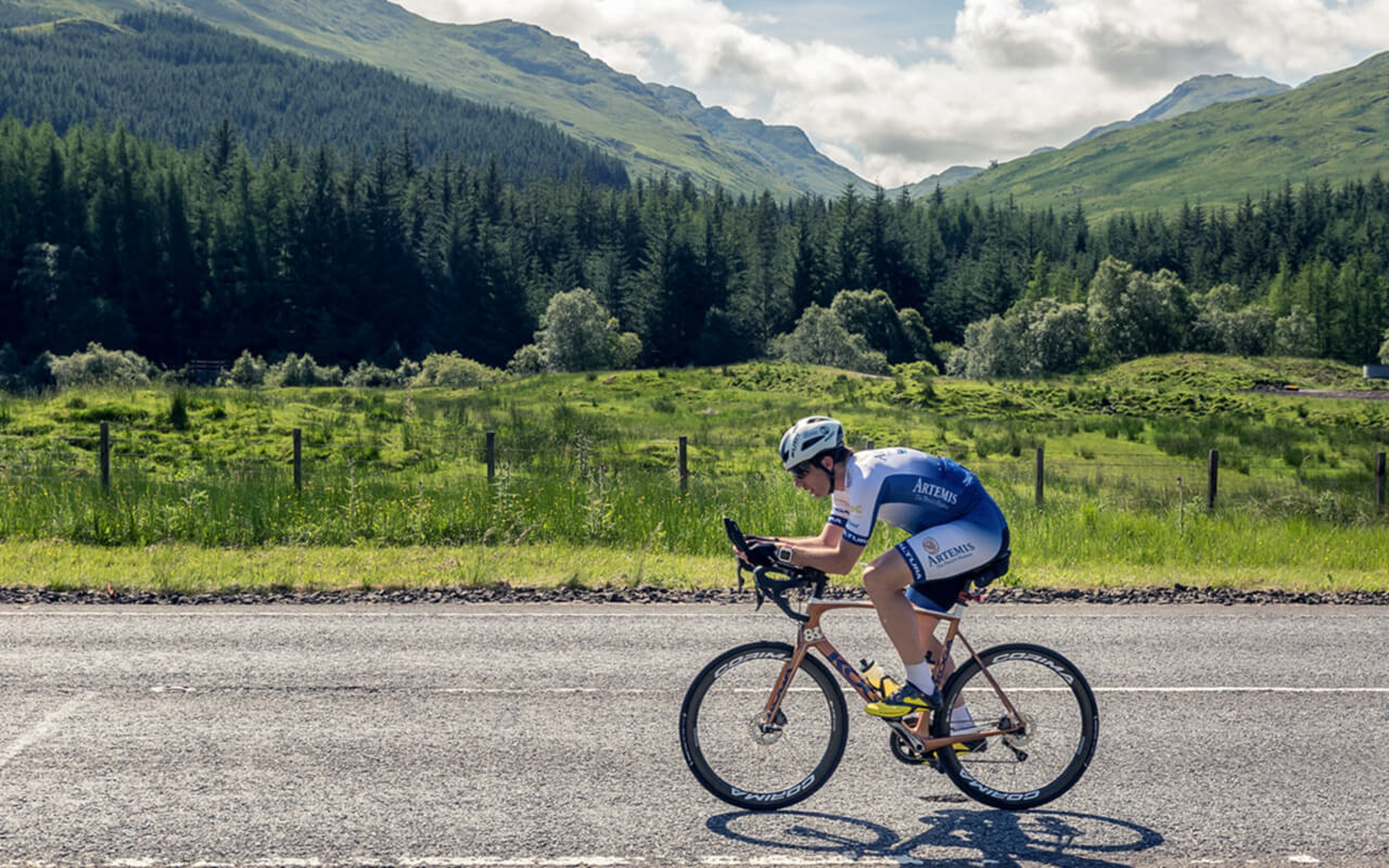 Mark Beaumont training near the Rest & Be Thankful, Argyll for the Artemis World Cycle Challenge