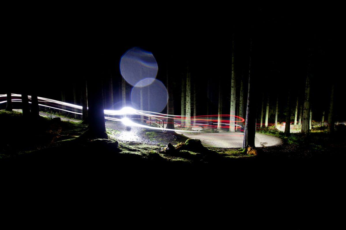 Night mountain biking, Glentress, Scottish Borders