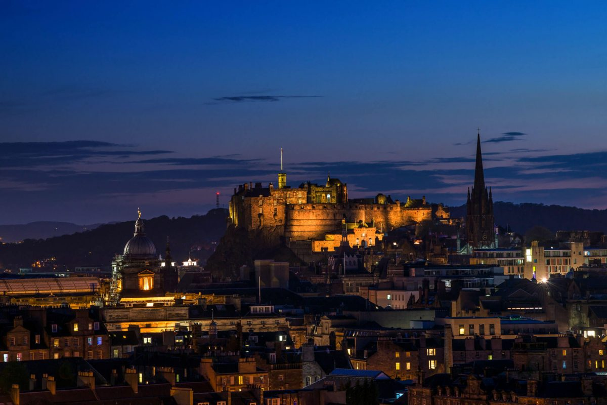 Edinburgh and castle at night
