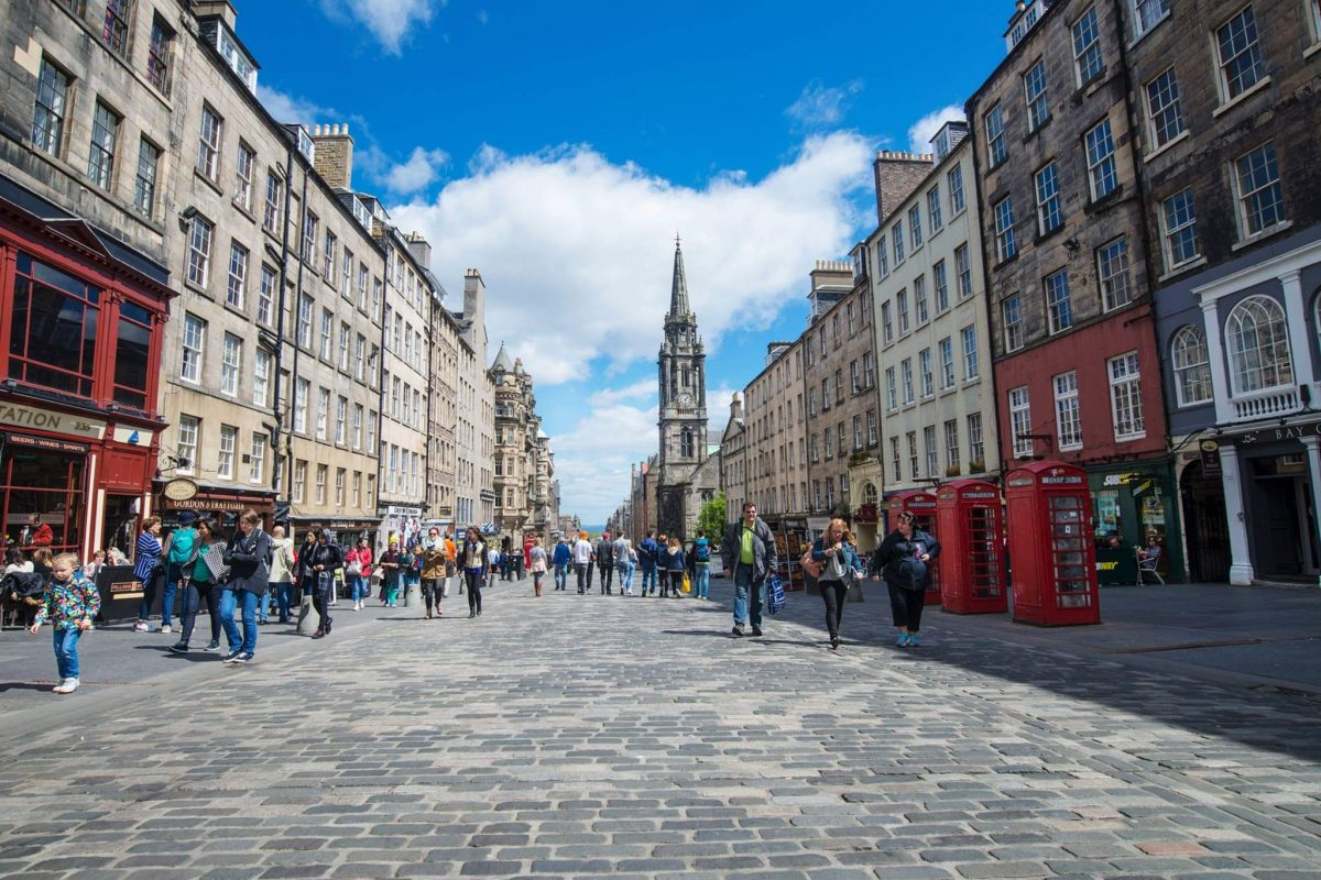The cobbled street of the Royal Mile