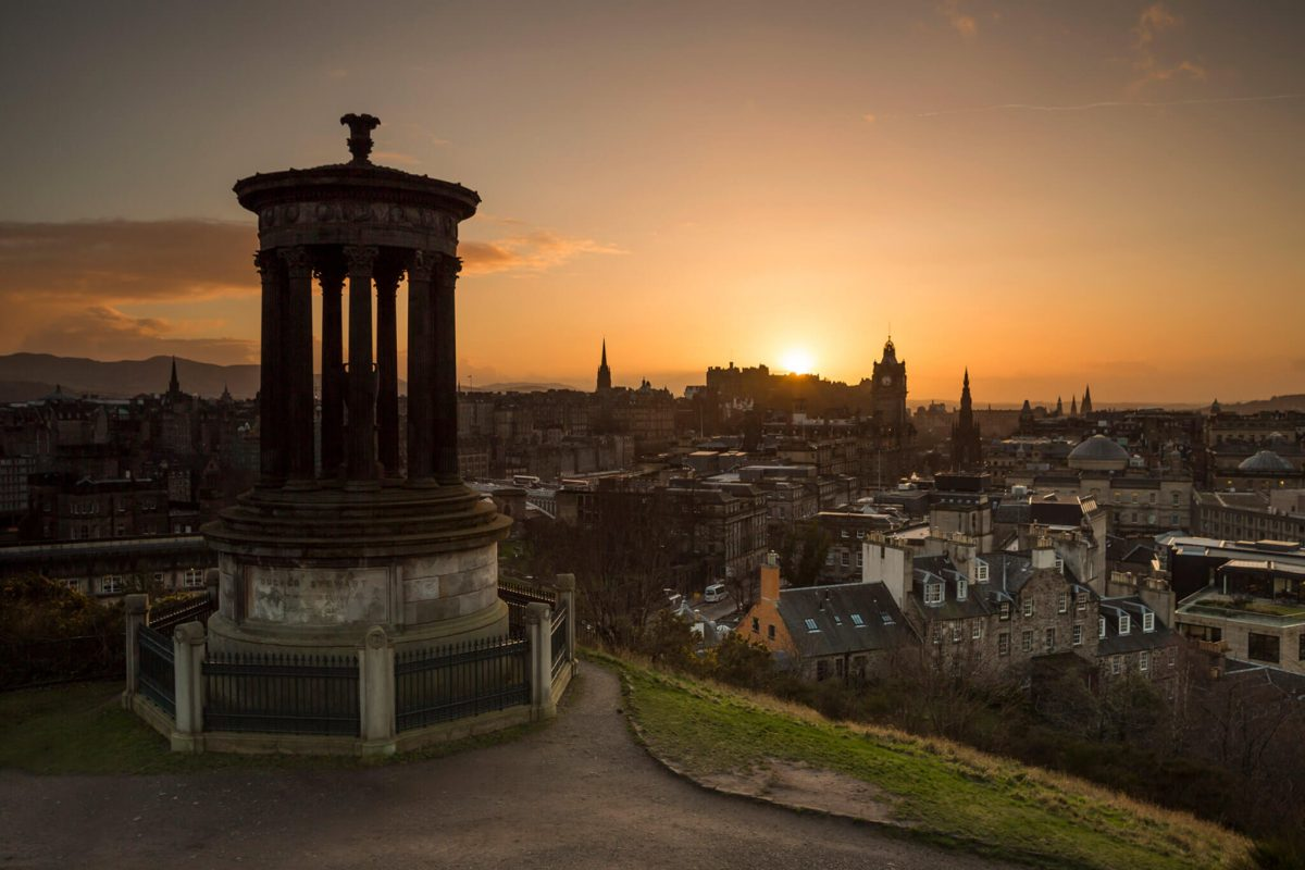 Calton Hill looking down on Edinburgh