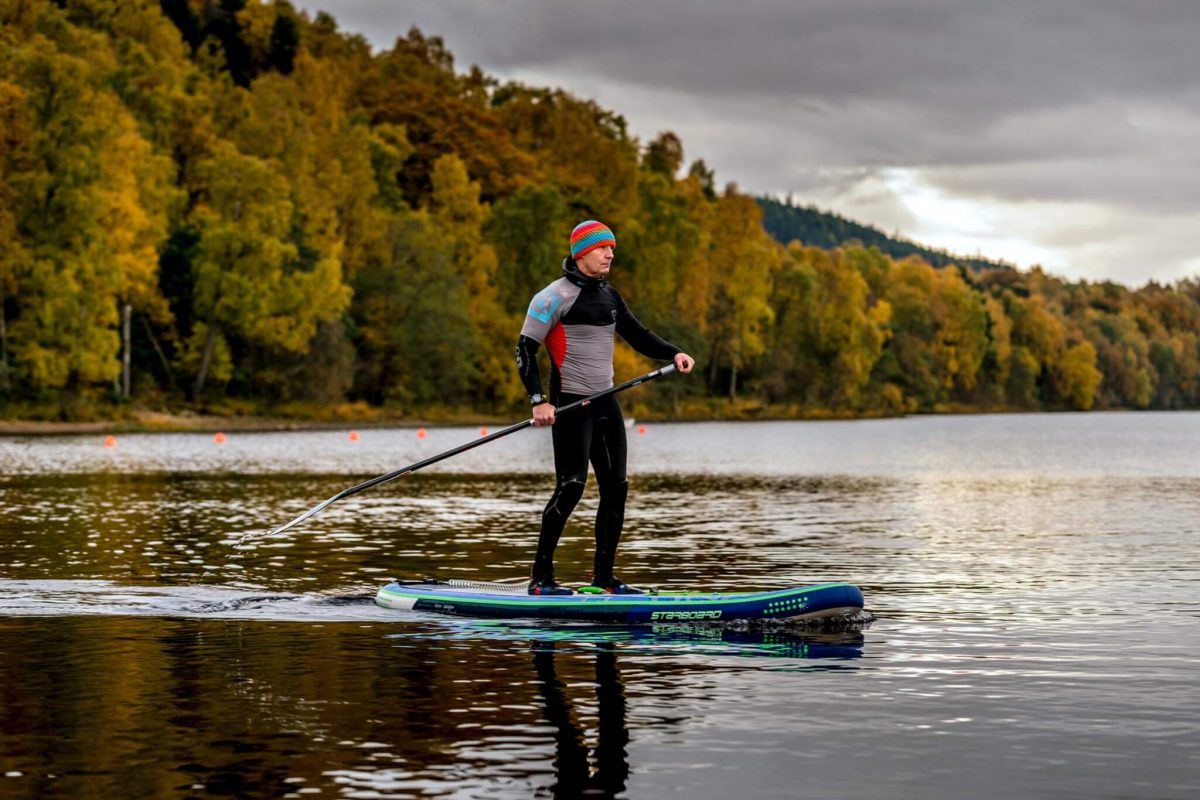 Stand Up Paddle-boarding on Loch Insh, Cairngorms National Park