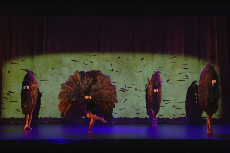 Dancers perform with huge fans of feathers.