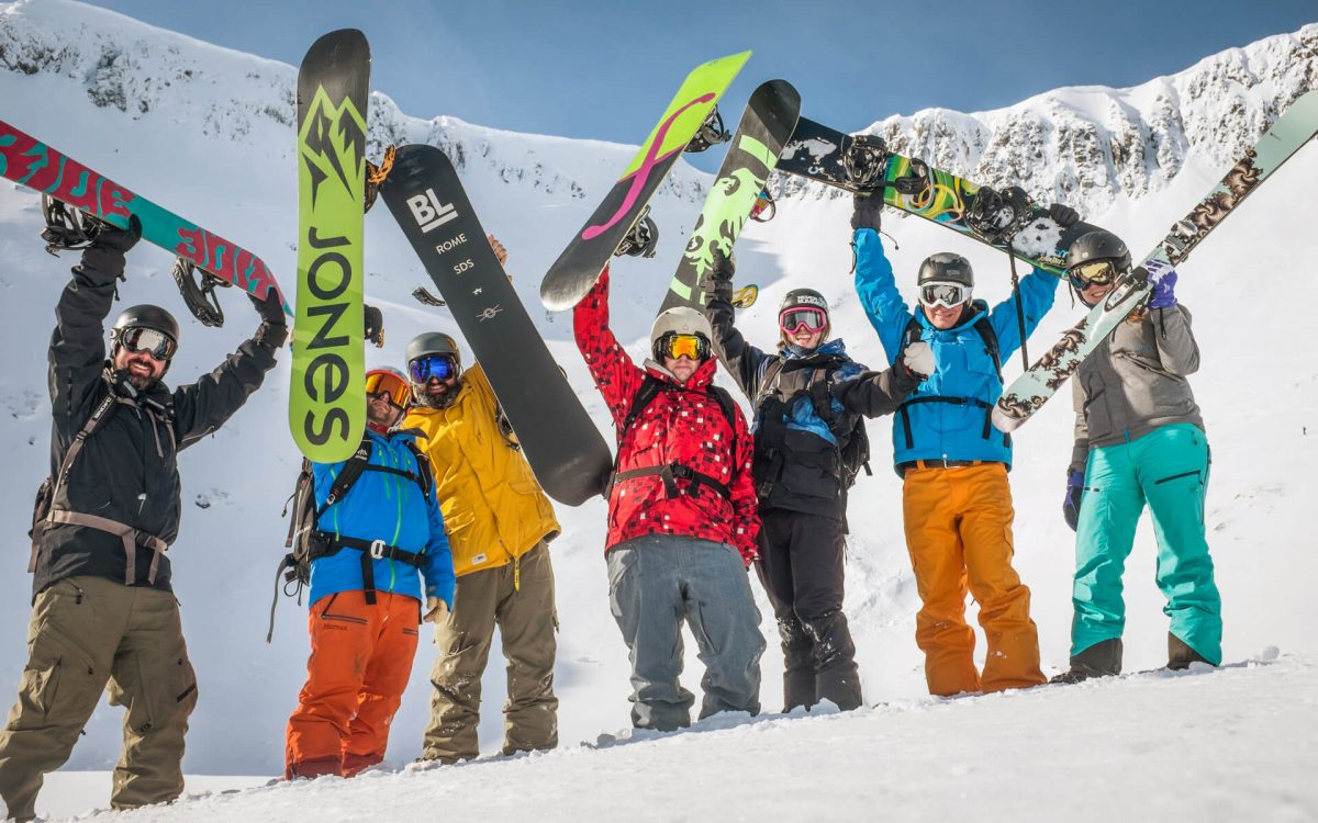 Snowboarders in the Back Corries at Nevis Range