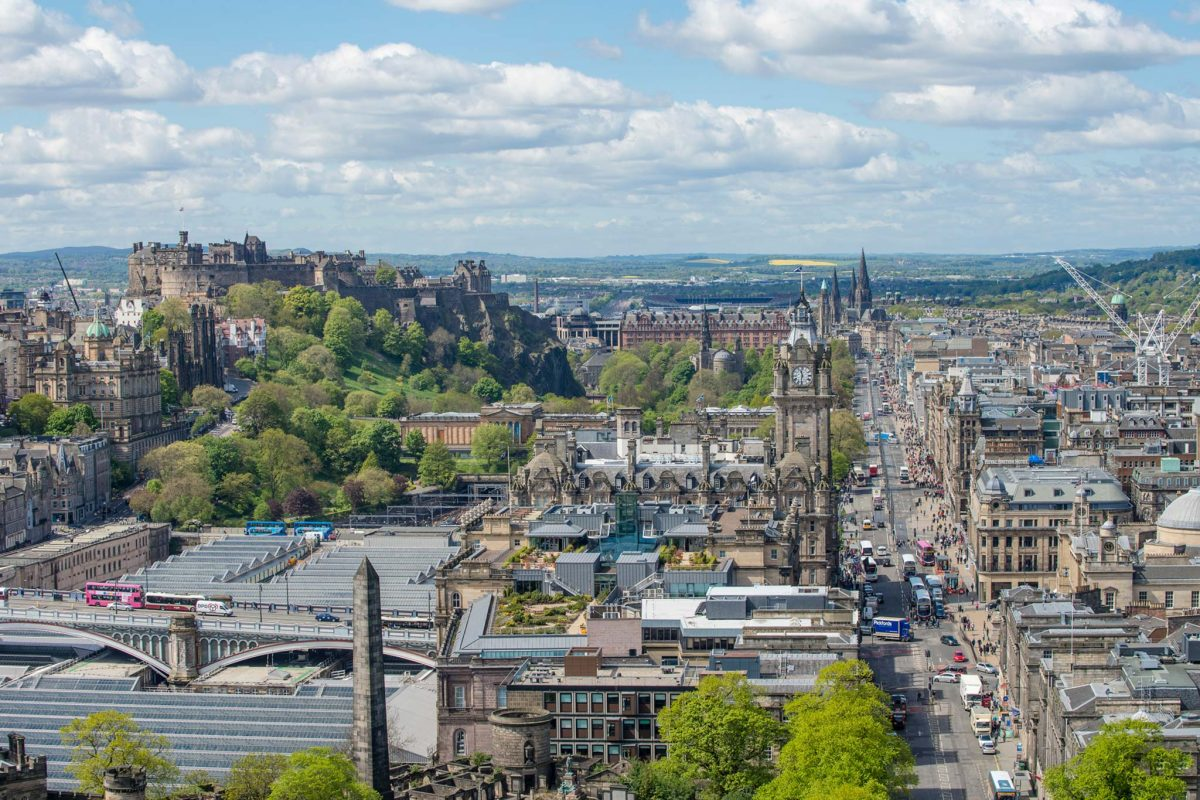 The view from Calton Hill to Edinburgh Castle