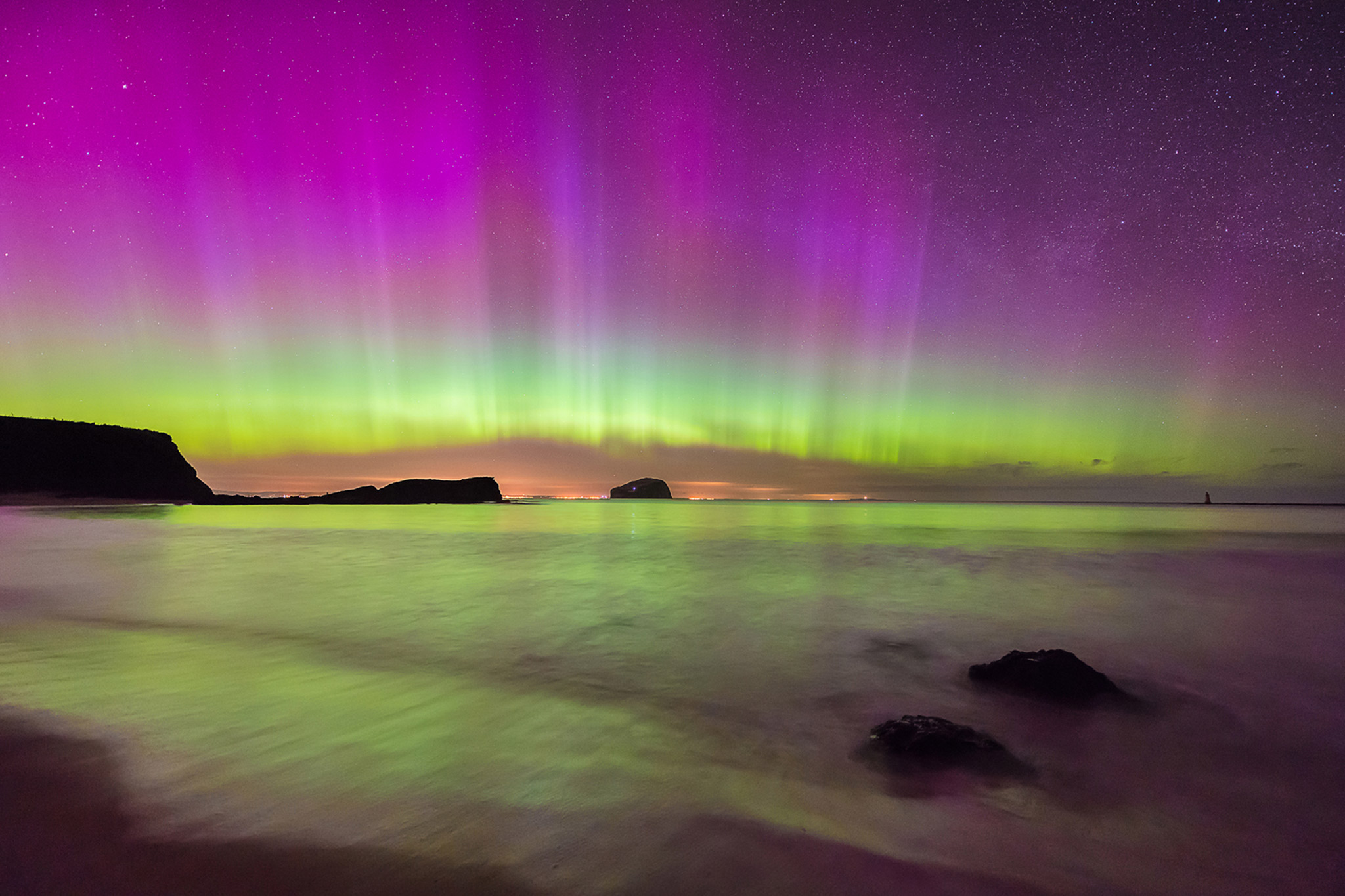 Northern Lights above Bass Rock, East Lothian © Sarah White
