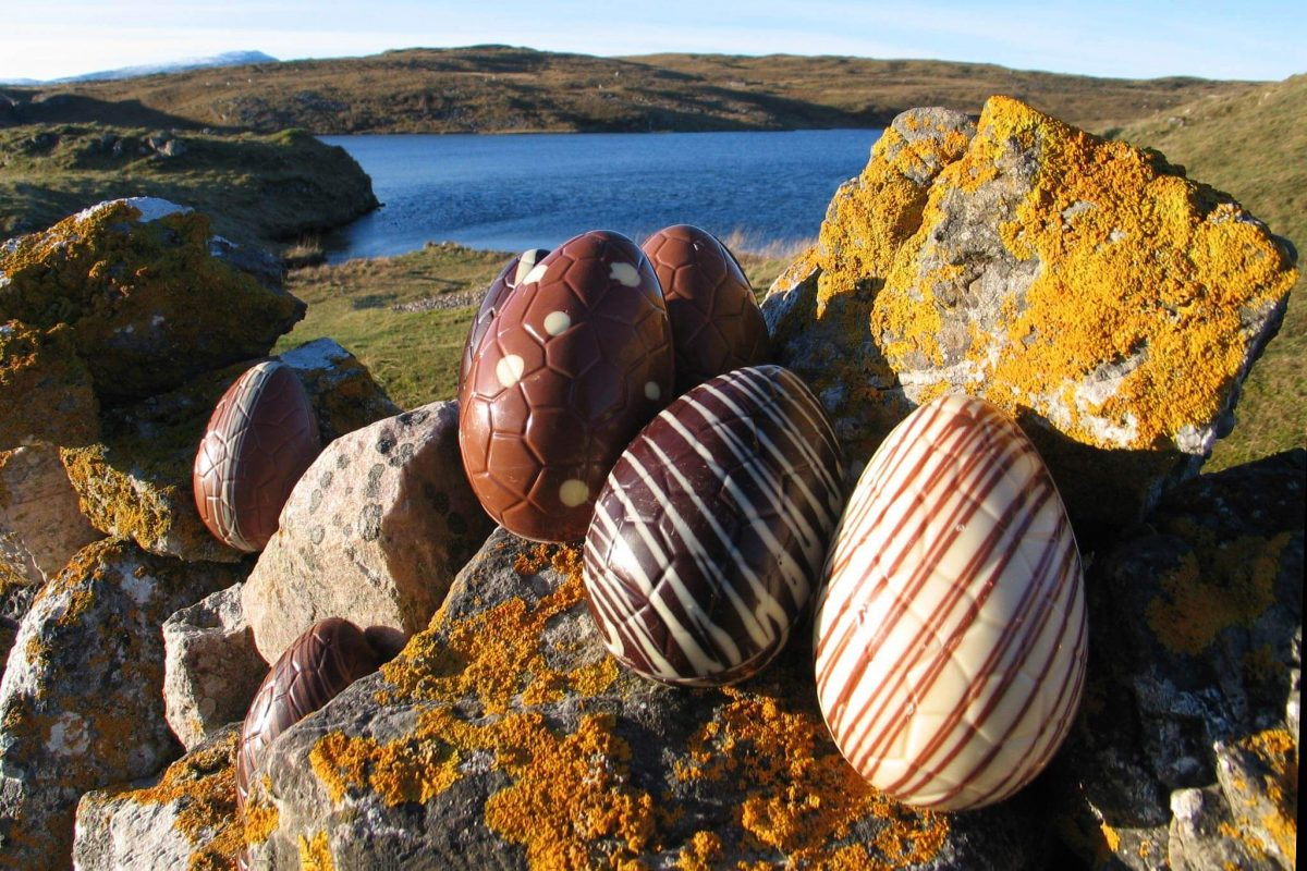 Chocolate eggs from Cocoa Mountain overlooking Balnakeil Bay.