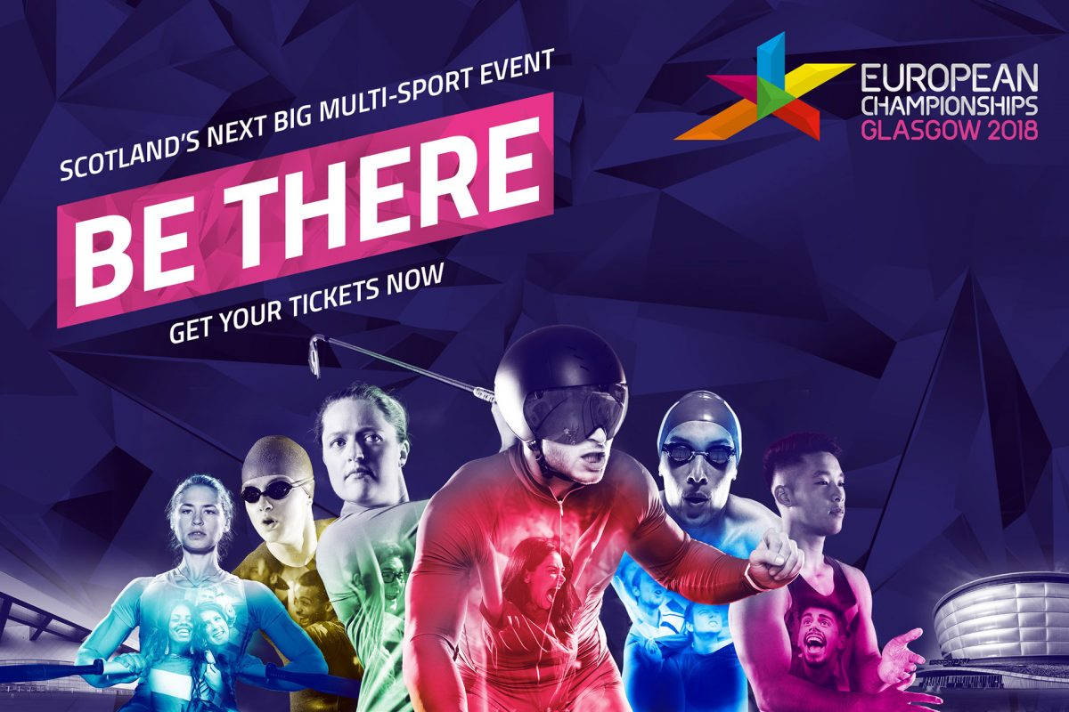 An advert for the Glasgow 2018 European Championships, showing seven competitors © Glasgow 2018 European Championships
