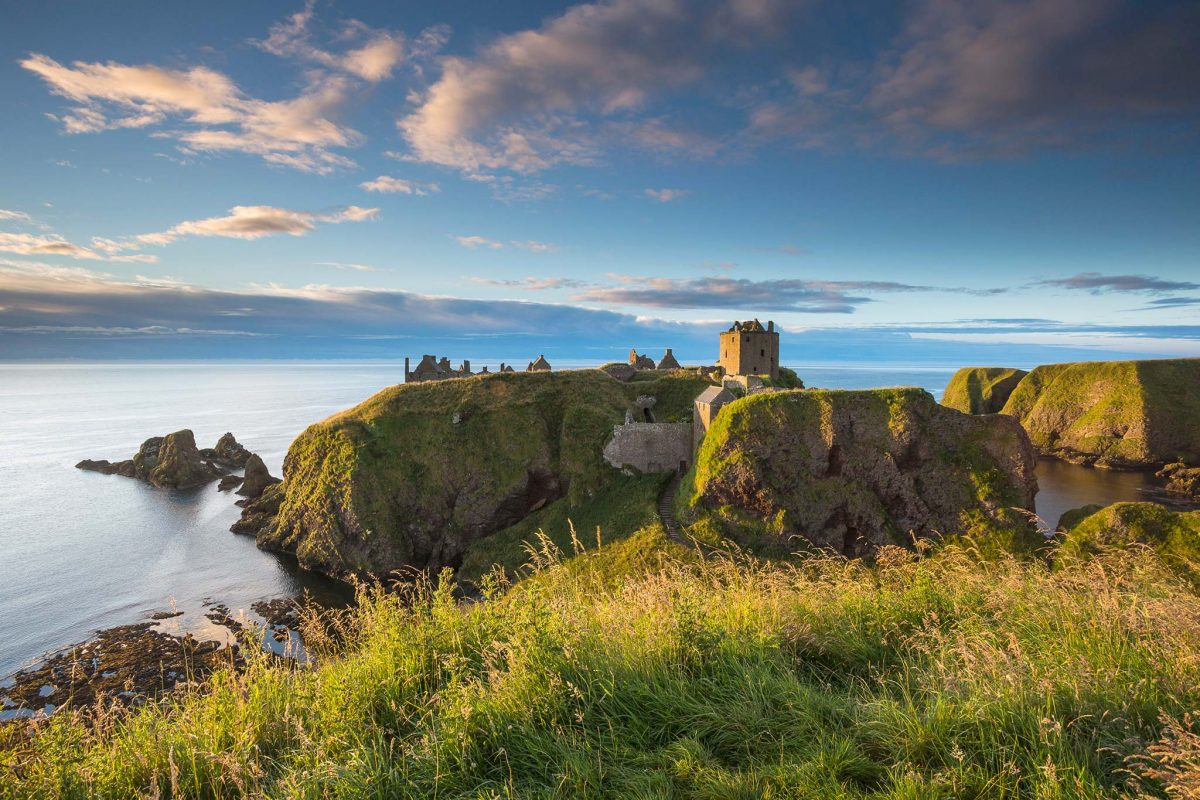 Looking across to the clifftop ruin of Dunnottar Castle, Stonehaven