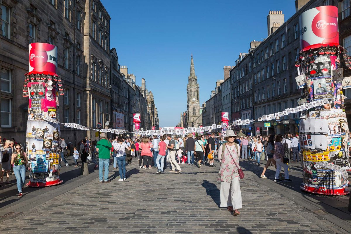 Looking down the Royal Mile during the Edinburgh Festival Fringe