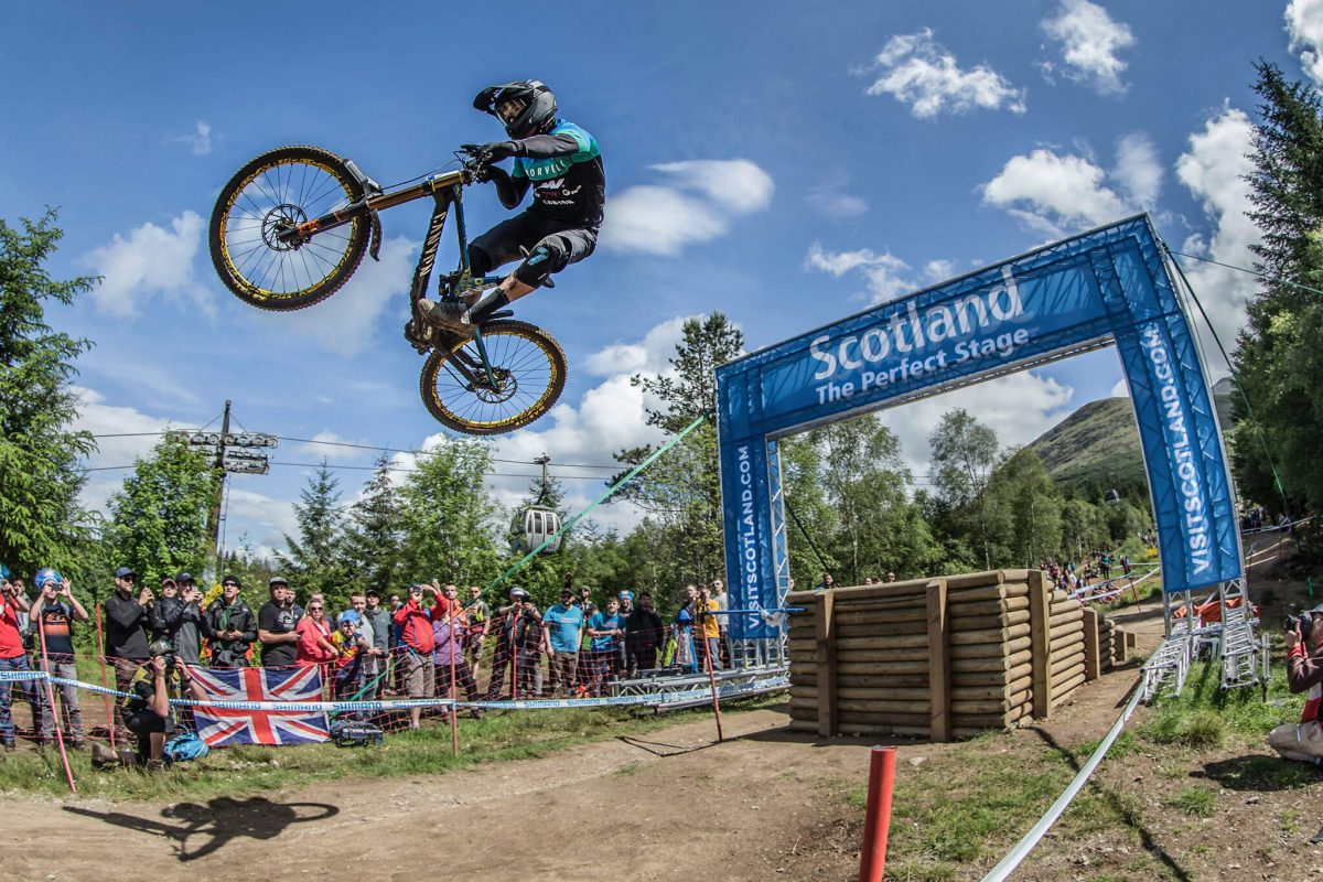 Big air at the UCI Fort William Mountain Bike World Cup