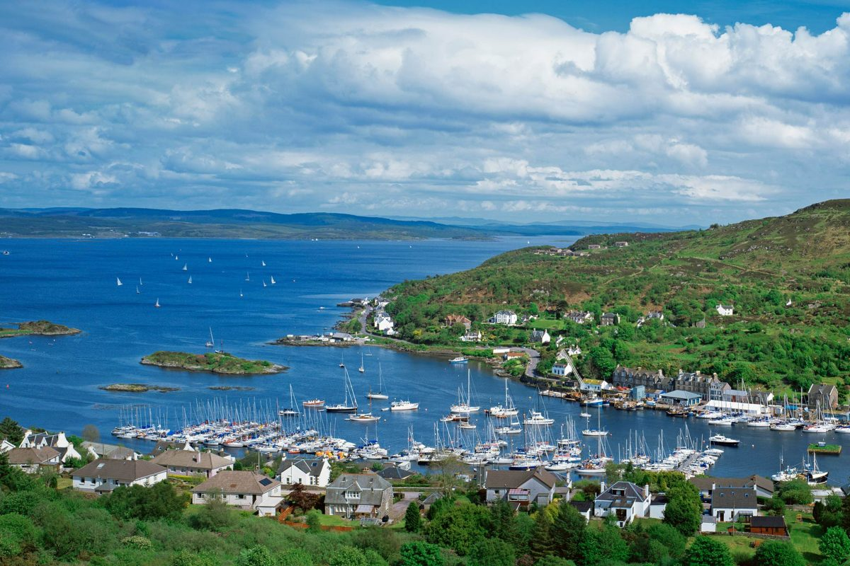 Yachts moored at Tarbert with Loch Fyne beyond, Argyll