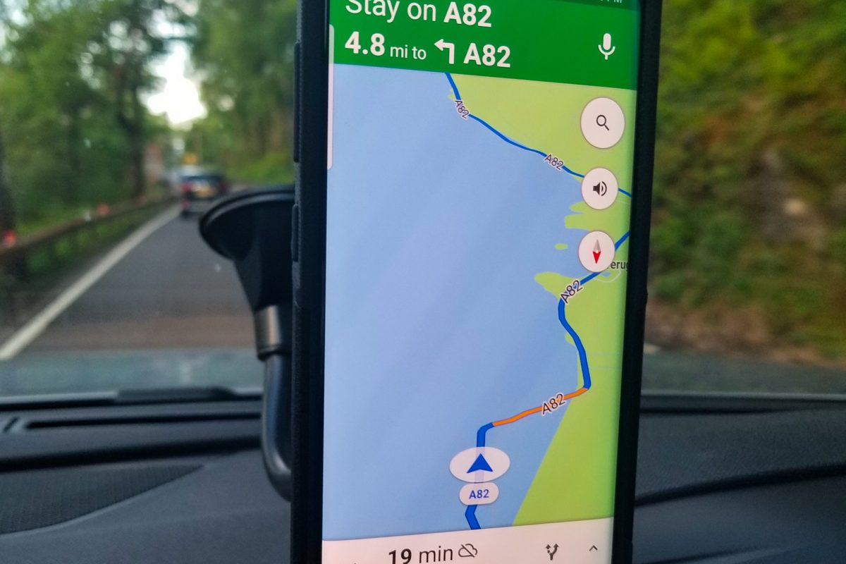 Google map image showing driving on water