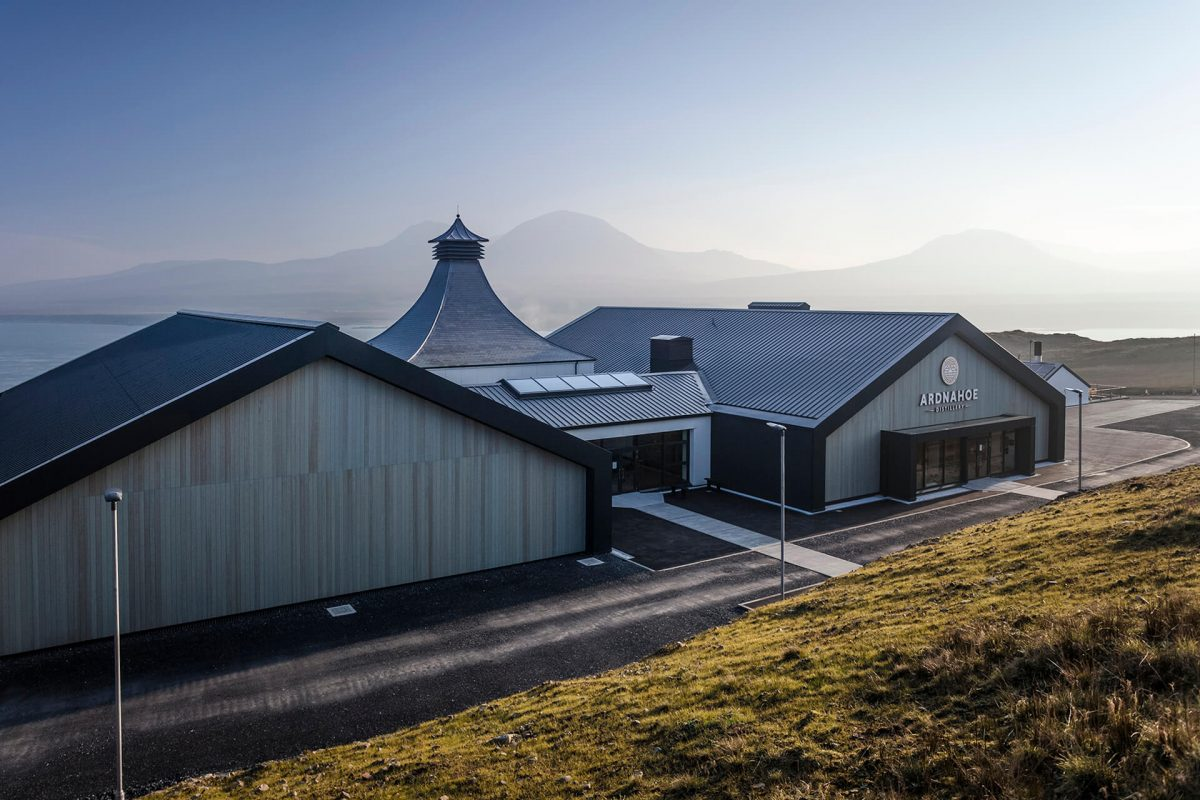 Stunning views over the new Ardnahoe Distillery and the Sound of Jura to the Paps of Jura