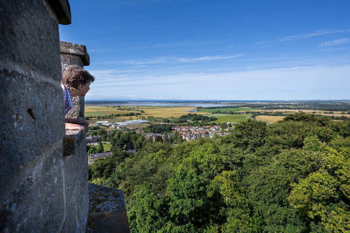 The view from the top of Nelson's Tower, Forres - over part of Forres towards Findhorn Bay, Moray