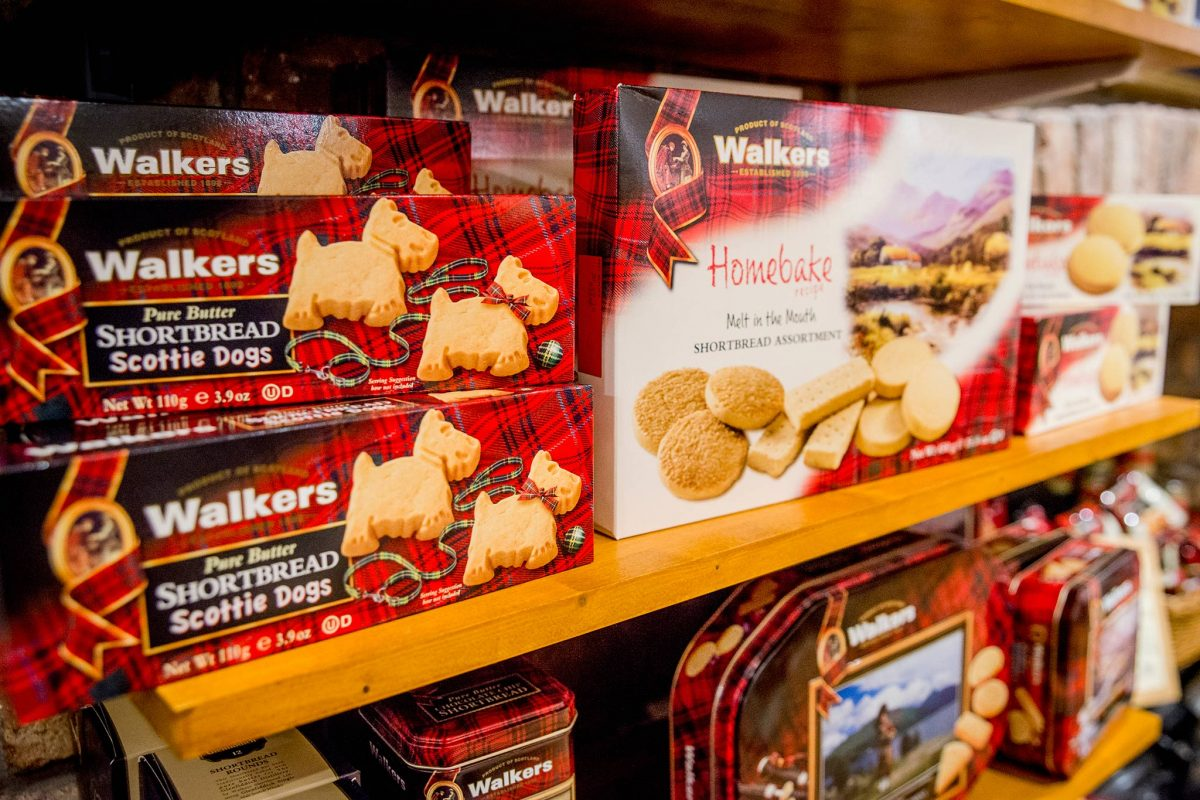 A display of Walkers Shortbread at House of Bruar, Perthshire