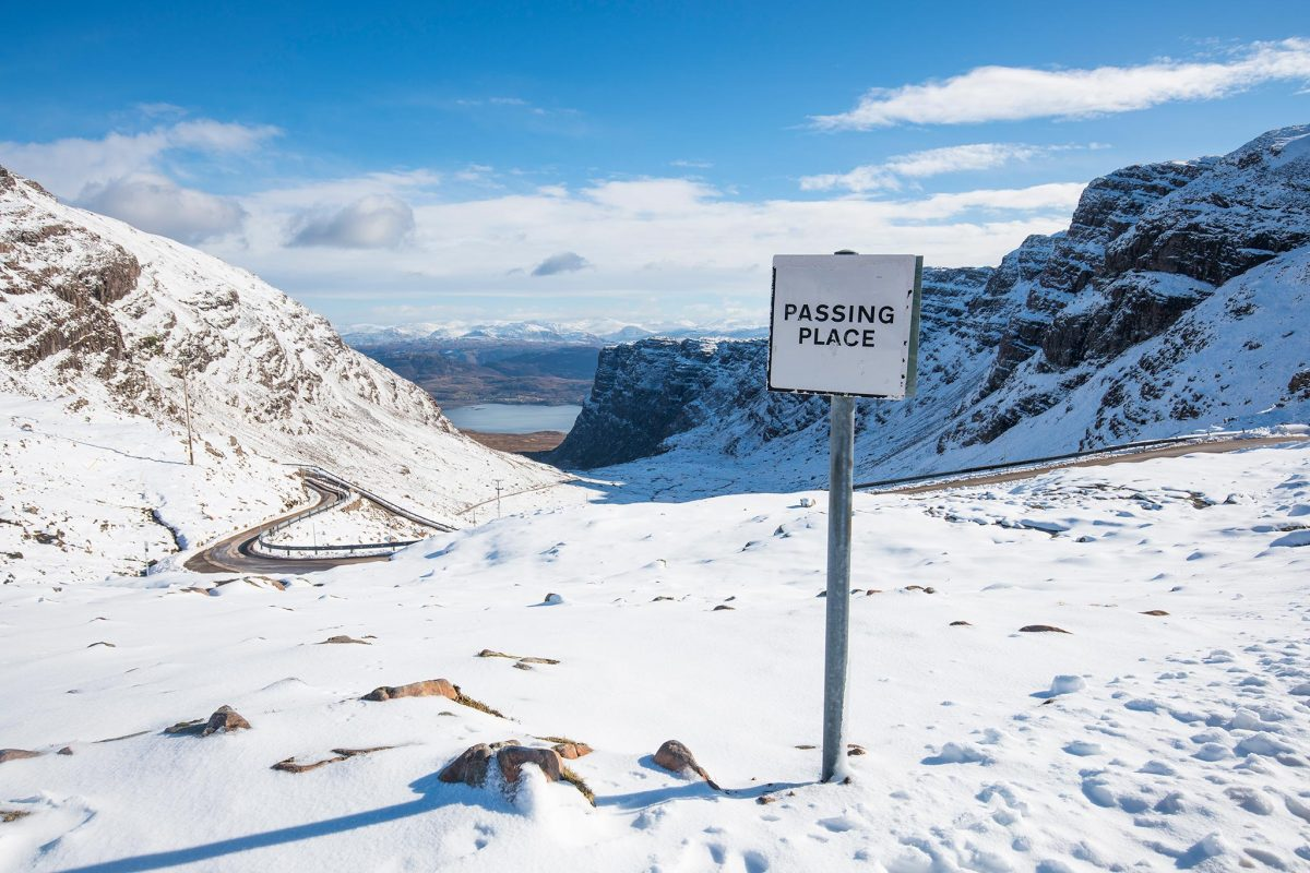 A snowy 'Passing Place' on the Bealach na Ba between Applecross and Lochcarron