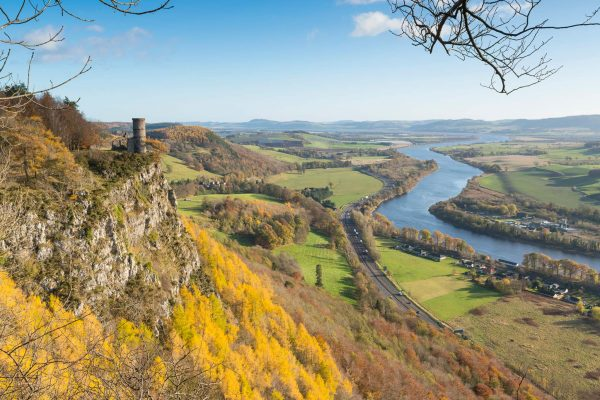 Kinnoull Hill and Tower, with the River Tay below