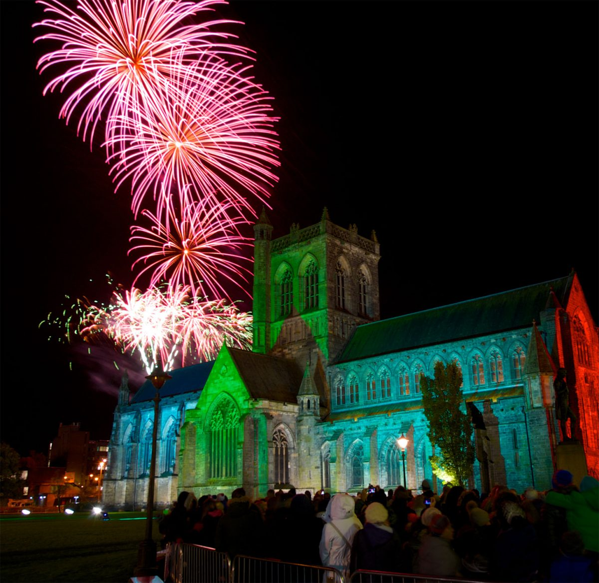 Paisley Abbey with firework display in backround