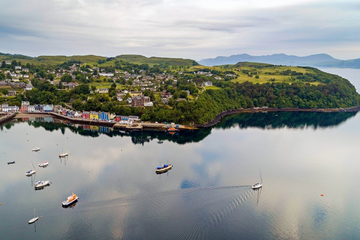 An aerial view of Tobermory and harbour