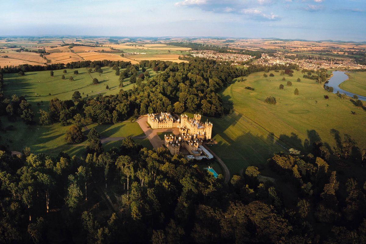 An aerial view of magnificent Floors Castle, Scottish Borders