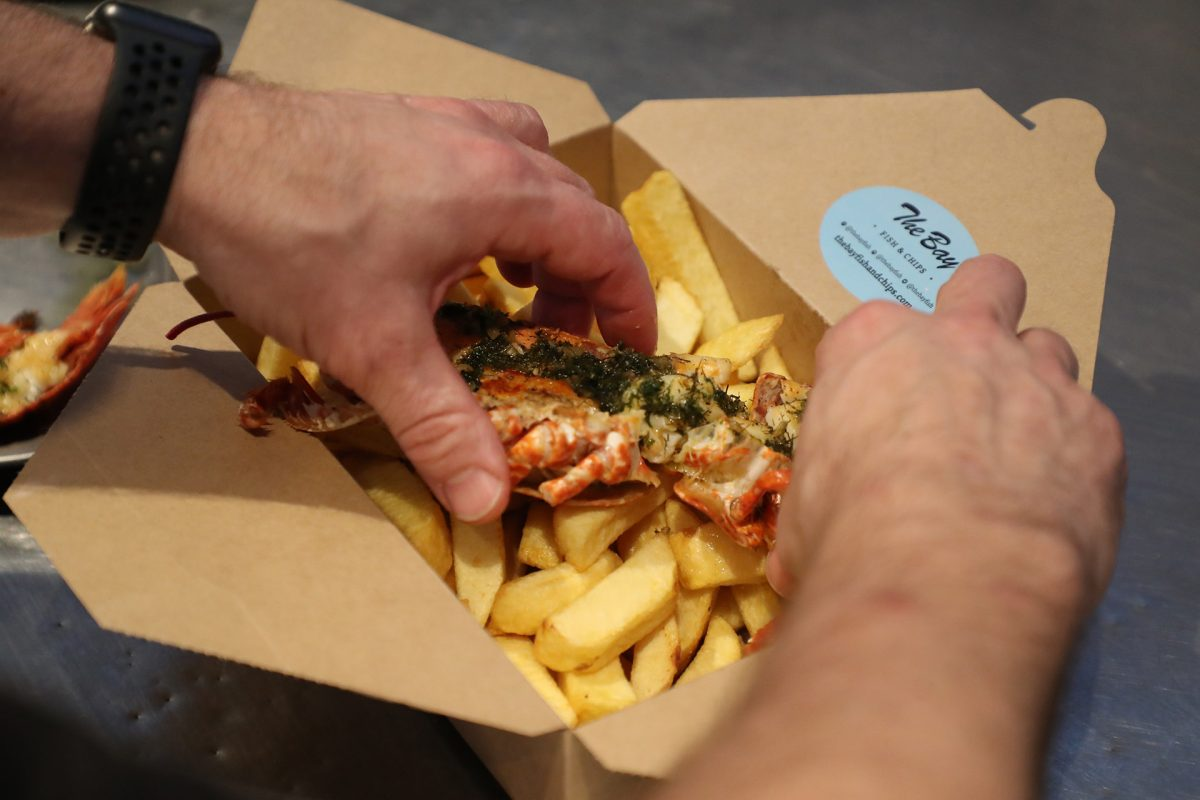 Delicious lobster and chips from The Bay Fish & Chip Shop, Stonehaven