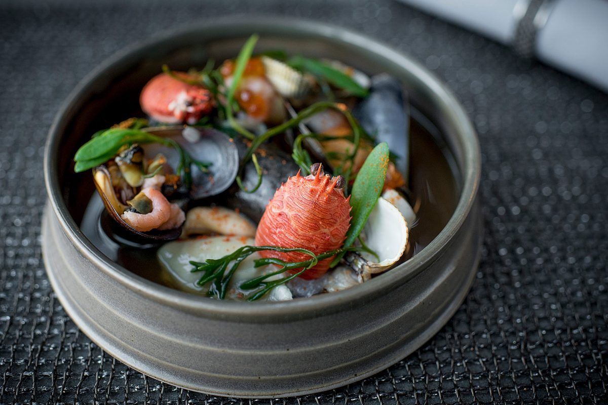 A stunning Kitchin seafood dish entitled 'rockpool'
