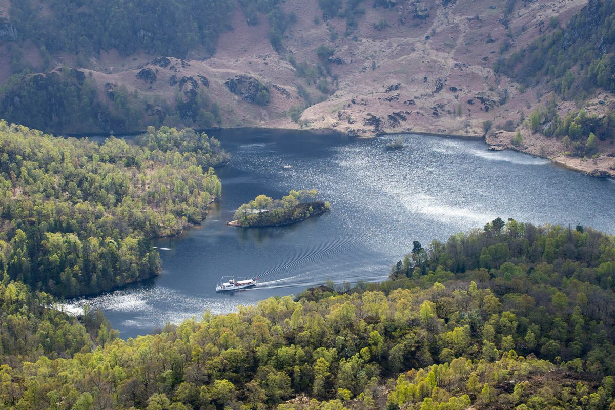 Steamship Sir Walter Scott on Loch Katrine seen from Ben A'an