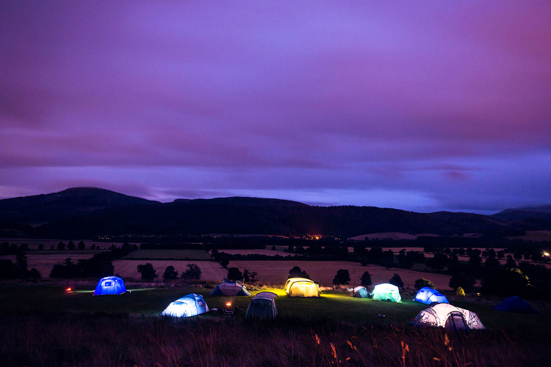 Camping under the stars in Comrie Croft, Perthshire