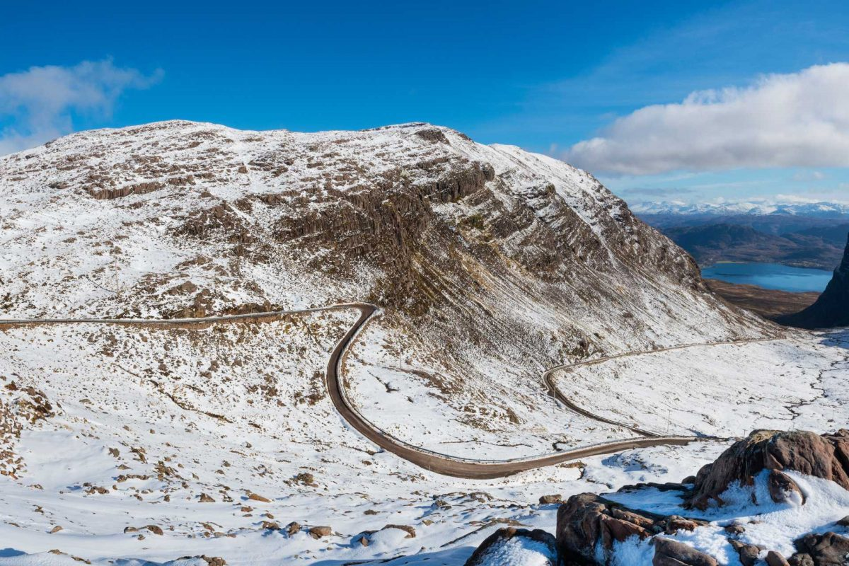 The twisty Bealach na Bà pass from Lochcarron to Applecross, Highlands