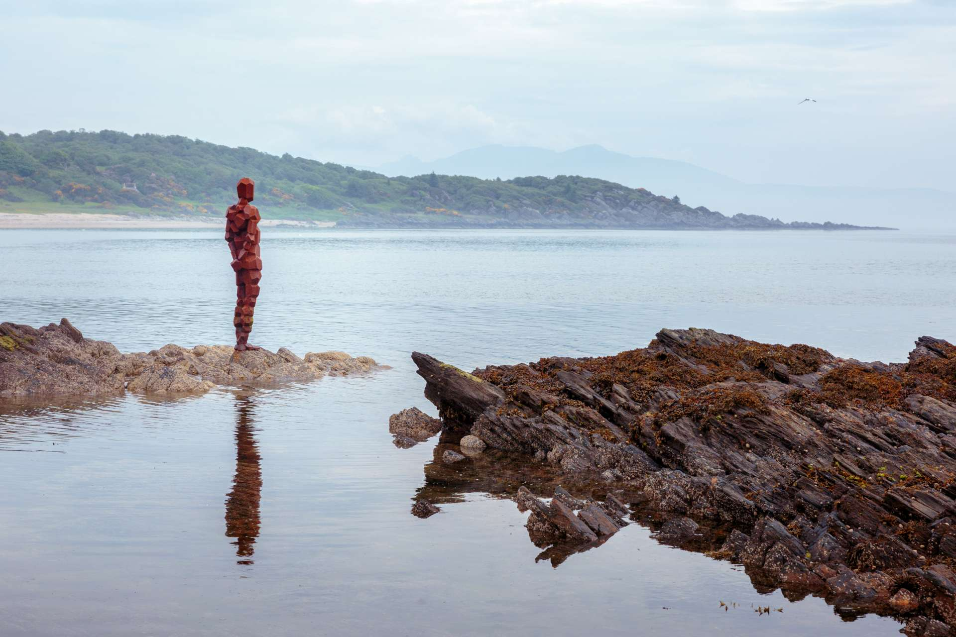 Antony Gormley sculpture on Saddell Bay