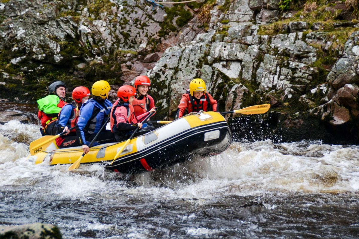Whitewater rafting on the River Findhorn, Moray Speyside