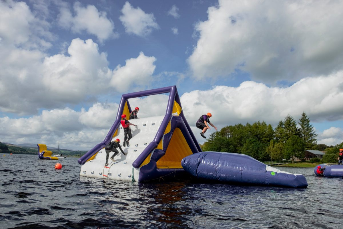 Wobbly waterpark fun at Galloway Activity Centre, Dumfries & Galloway