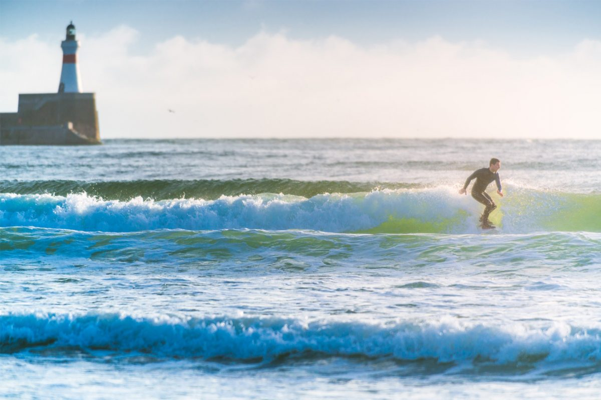 Surfing at Fraserburgh, Aberdeenshire