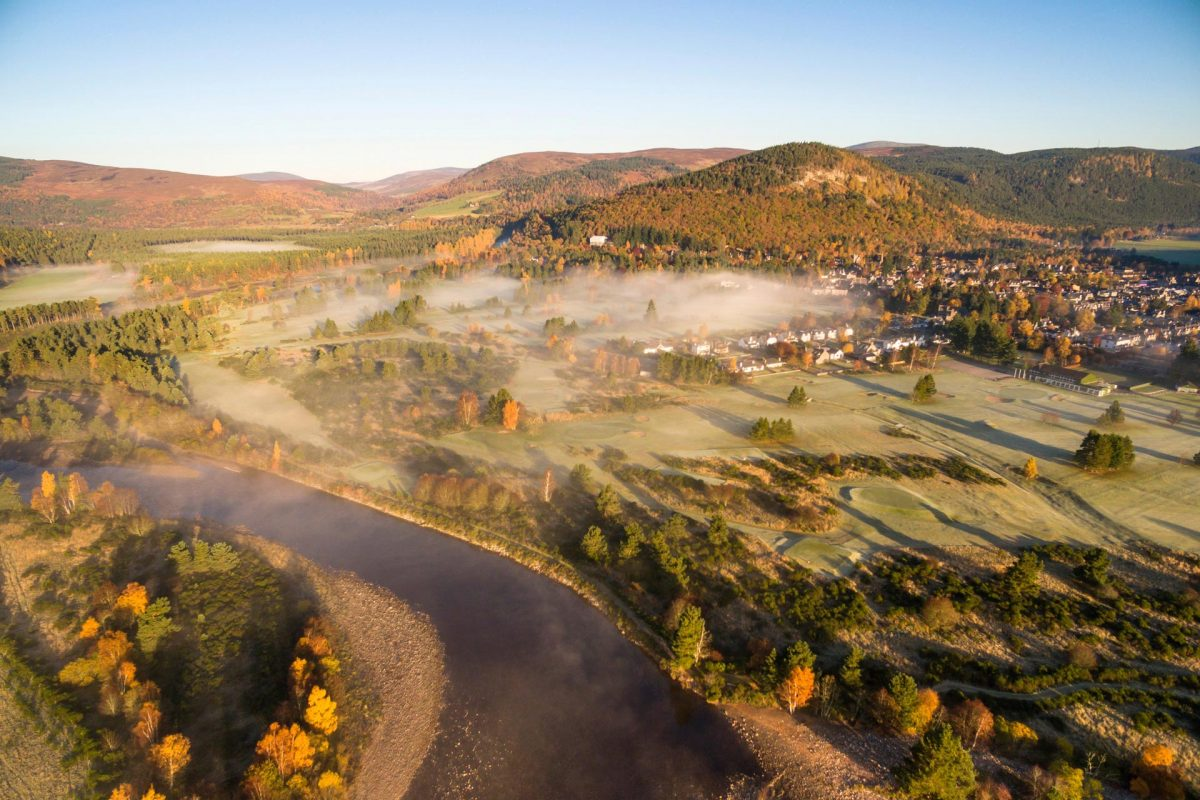 An aerial view of the River Dee and Ballater, Royal Deeside, Aberdeenshire