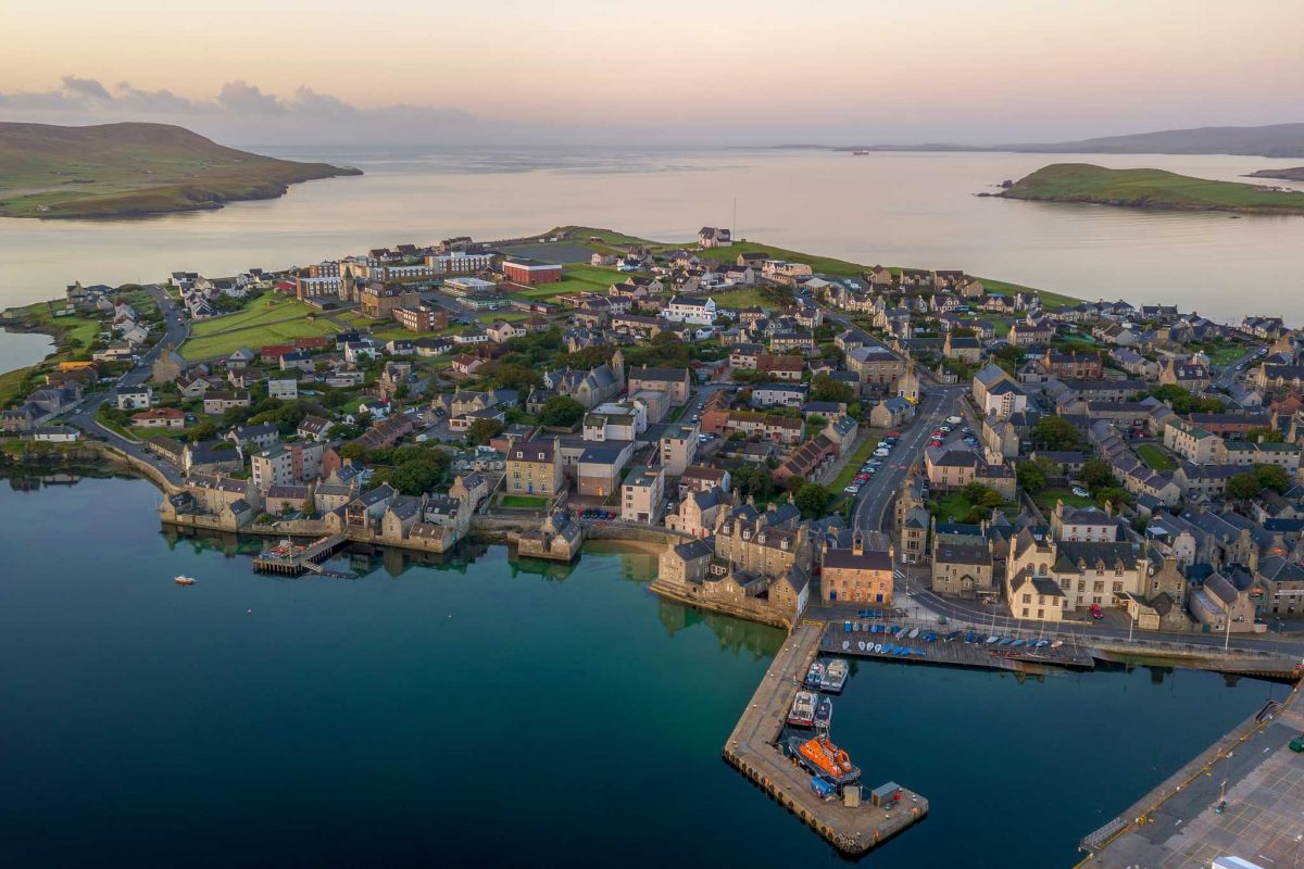 A lovely aerial view of Lerwick, 'capital' of the Shetland Isles.