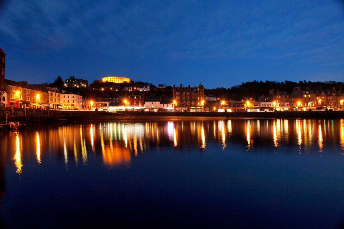 Oban and harbour at night