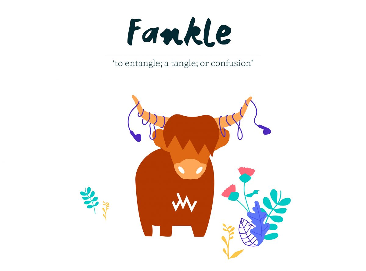 Fankle - to entangle, a tangle or confusion