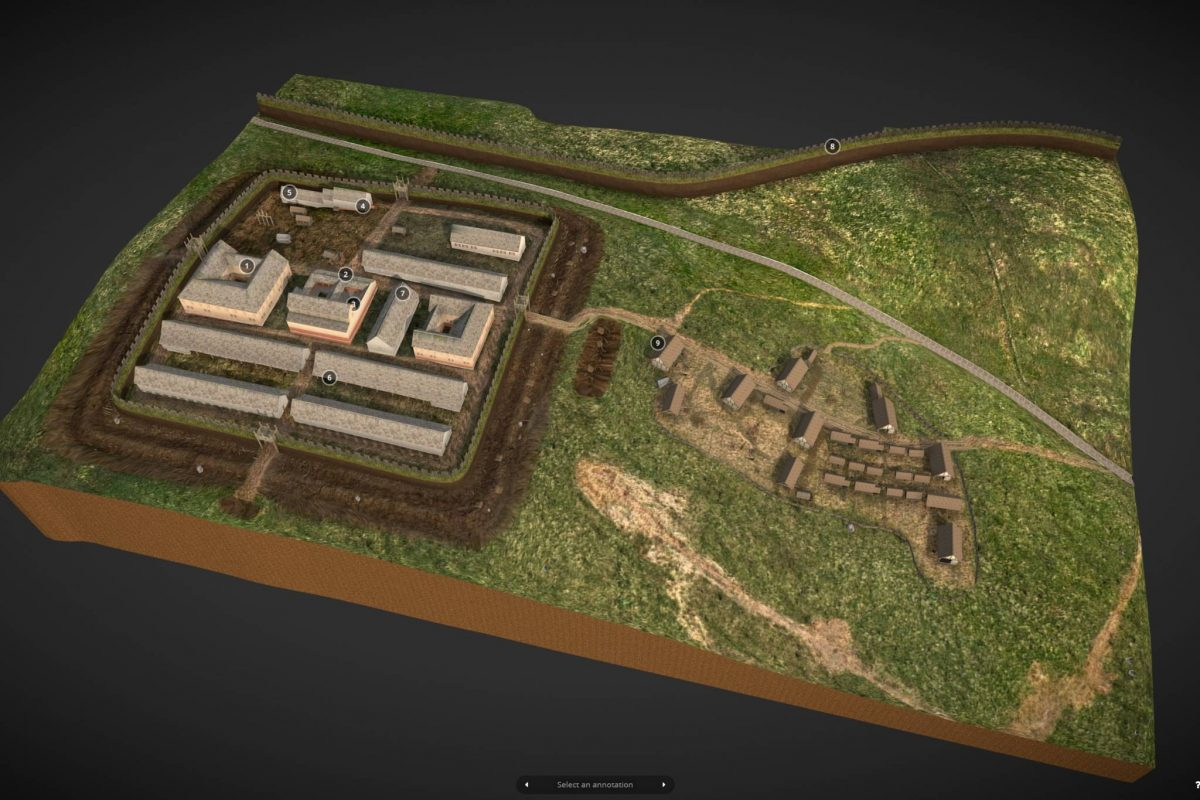 A reconstruction of Bar Hill Fort, part of the Antonine Wall, Twechar, East Dunbartonshire