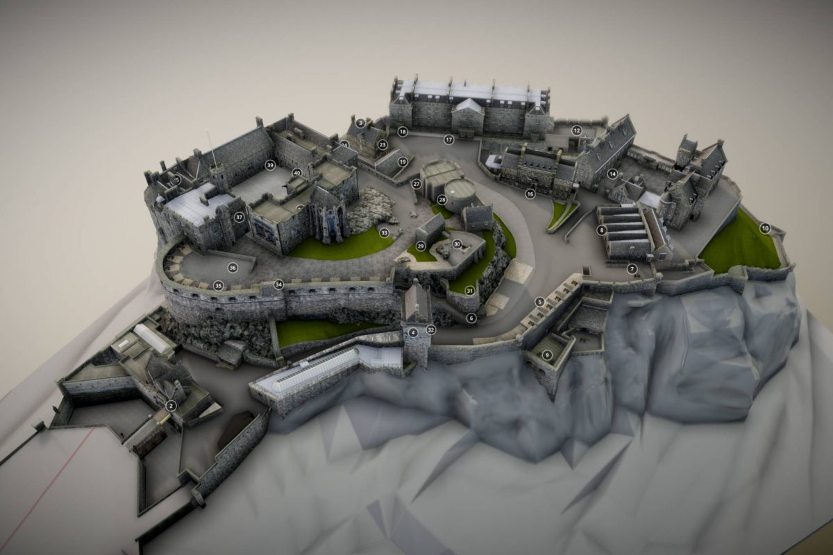 A 3D visualization of Edinburgh Castle